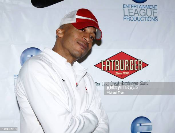 James Lesure attends the E League's celebrity basketball playoff game held at Crossroads Elementry School on May 8 2010 in Santa Monica California