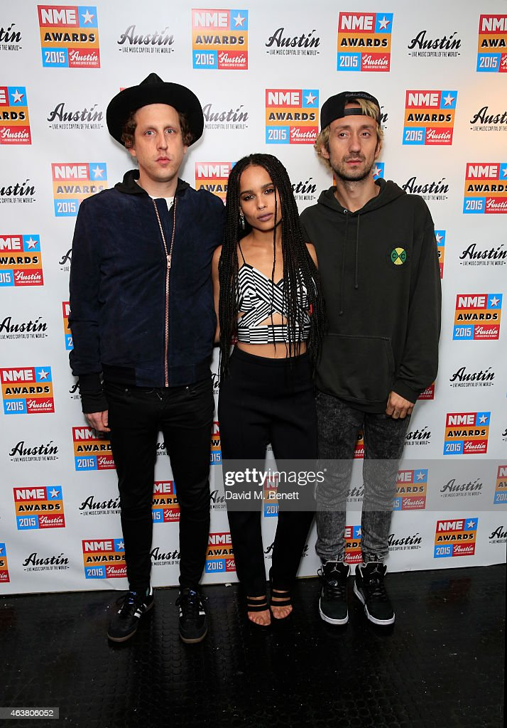 James Levy, Zoe Kravitz and Jimmy Giannopoulos of Lolawolf poses in the winner's room at the NME Awards at Brixton Academy on February 18, 2015 in London, England.