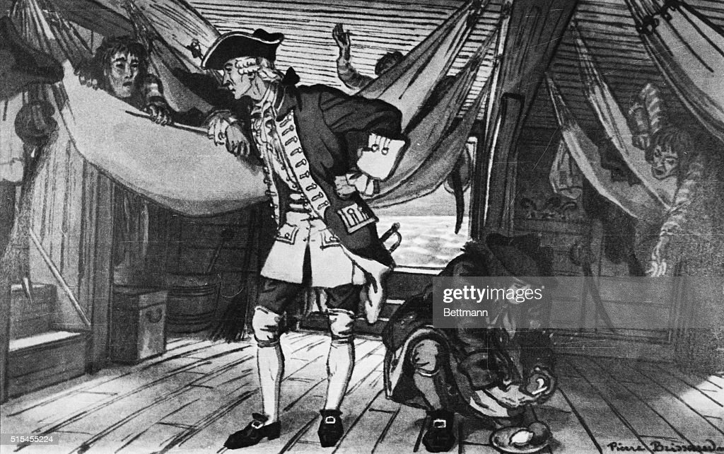 James Lind Giving Citrus Fruits to Sailors with Scurvy : News Photo