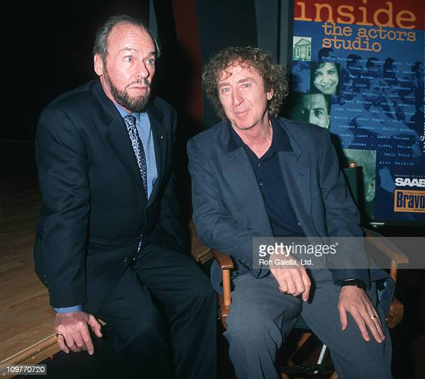 James Lipton and Gene Wilder during Inside the Actor's Studio Taping at New School Auditorium in New York City New York United States