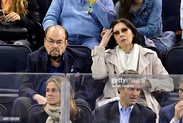 James Lipton and Kedakai Turner attend the Pittsburgh Penguins verse New York Rangers playoff game at Madison Square Garden on May 7 2014 in New York...