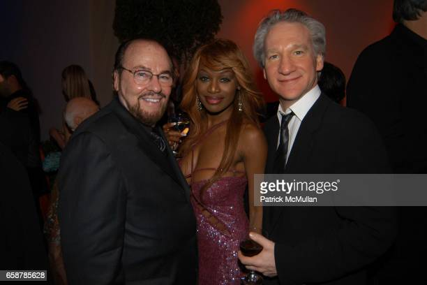 James Lipton Coco Johnsen and Bill Maher attend the 2004 Vanity Fair Oscar Party at Mortons on February 29 2004 in Beverly Hills California