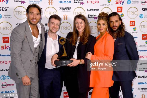 James Lock, Amy Childs and Pete Wicks collect the award for Greg James who wins the Radio Personality Award during the TRIC Awards 2020 at The...
