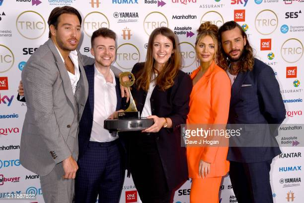 James Lock Amy Childs and Pete Wicks collect the award for Greg James who wins the Radio Personality Award during the TRIC Awards 2020 at The...