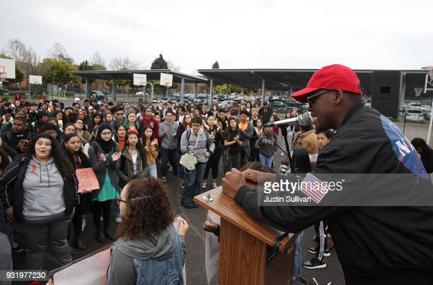 James Logan High School student speaks during a walk out demonstration on March 14 2018 in Union City California Students across the nation walked...
