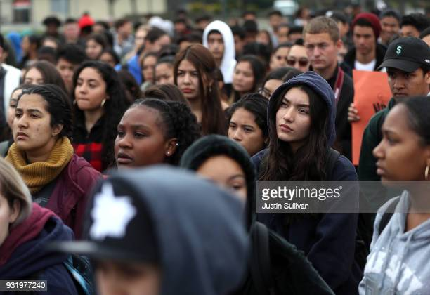 James Logan High School students listen to speakers during a walk out demonstration on March 14 2018 in Union City California Students across the...