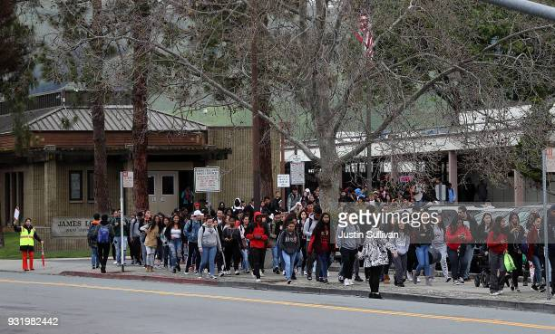 James Logan High School students walk out of class during a walk out demonstration on March 14 2018 in Union City California Students across the...