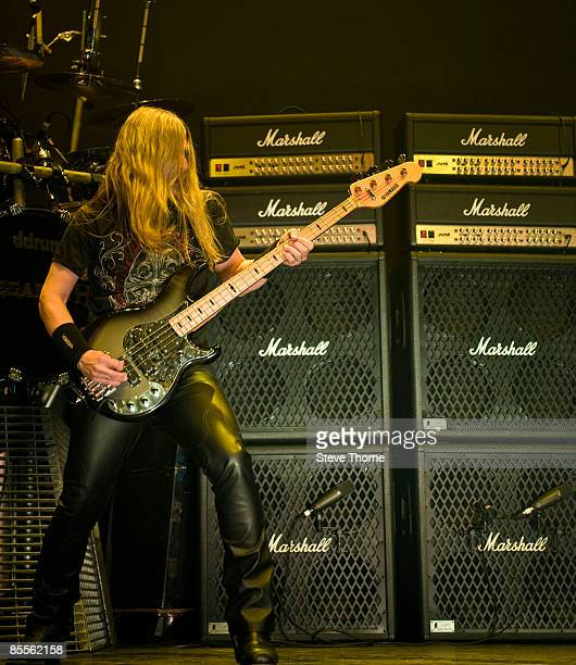 James LoMenzo of Megadeth performs on stage as part of the Priest Feast Tour at the LG Arena on February 14, 2009 in Birmingham.