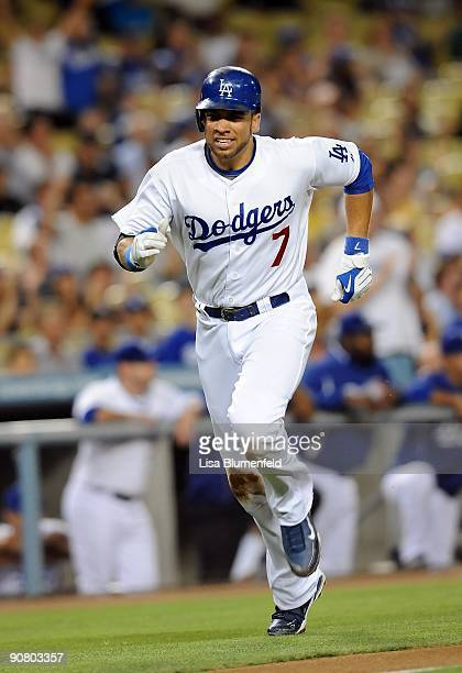 James Loney of the Los Angeles Dodgers scores in the second inning against the Arizona Diamondbacks at Dodger Stadium on September 3 2009 in Los...