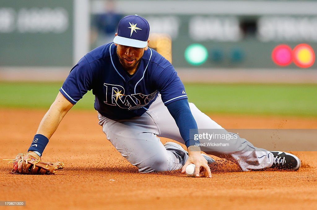 James Loney #21 of the Tampa Bay Rays corrals a line drive against the Boston Red Sox during the game on June 18, 2013 at Fenway Park in Boston, Massachusetts.