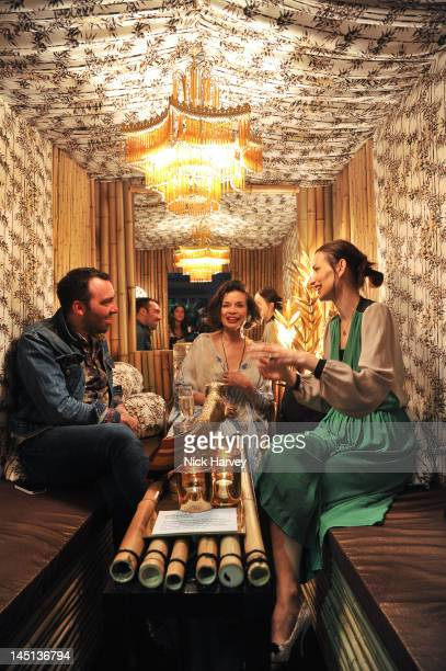 James Long Bianca Jagger and Roksanda Ilincic attend the press view of Harvey Nichols British Designers Secret Garden Installation at Harvey Nichols...