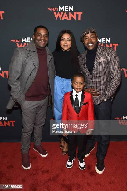 James Lopez Taraji P Henson Will Packer and Auston Jon Moore attend a special screening of 'What Men Want' at Regal Atlantic Station on January 18...