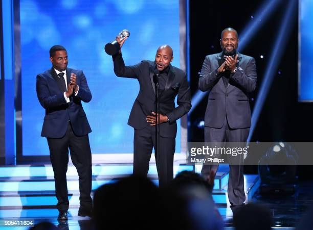 James Lopez Will Packer and Malcolm D Lee accept the Outstanding Motion Picture award for 'Girls Trip' onstage during the 49th NAACP Image Awards at...