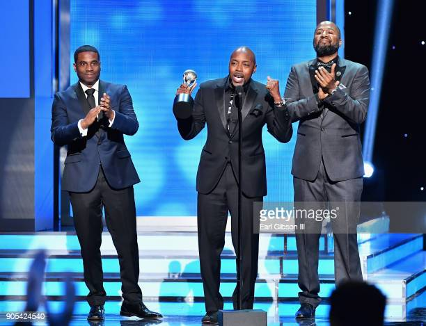James Lopez Will Packer and Malcolm D Lee accept the Outstanding Motion Picture award for 'Girls Trip' onstage at the 49th NAACP Image Awards on...