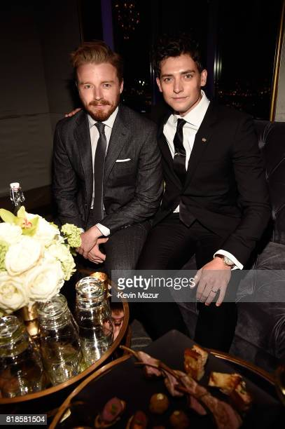 James Lowden and Aneurin Barnard attend the after party for the premiere of 'DUNKIRK' at The Rainbow Room on July 18 2017 in New York City