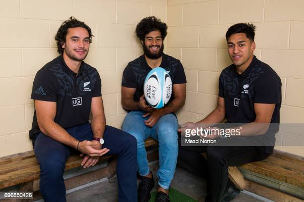 James Lowe Akira Ioane and Rieko Ioane of the New Zealand Maori All Blacks pose during the Dove MenCare British Irish Lions Appearance at...