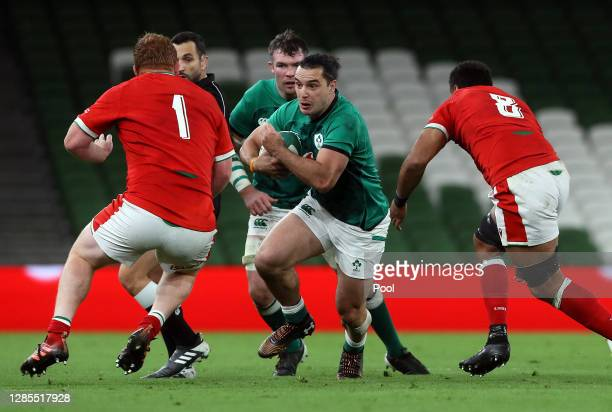 James Lowe of Ireland runs towards the Wales defence during the Autumn Nations Cup 2020 match between Ireland and Wales at the Aviva Stadium on...