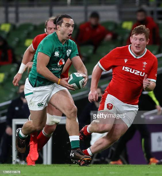James Lowe of Ireland runs towards the Welsh defence during the Autumn Nations Cup 2020 match between Ireland and Wales at the Aviva Stadium on...