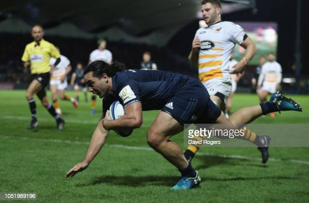James Lowe of Leinster dives over for his second try during the Champions Cup match between Leinster Rugby and Wasps at the RDS Arena on October 12...