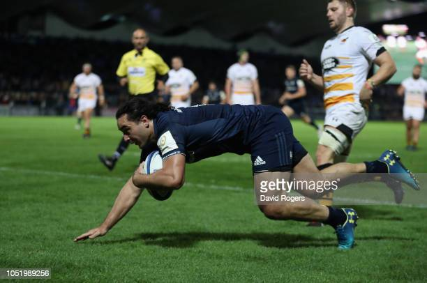 James Lowe of Leinster dives over for his second try during the Champions Cup match between Leinster Rugby and Wasps at the RDS Arena on October 12,...