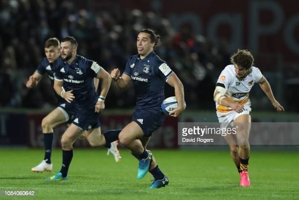 James Lowe of Leinster Rugby breaks through to score a try during the Champions Cup match between Leinster Rugby and Wasps at RDS Arena on October...