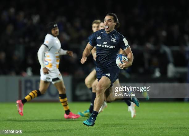 James Lowe of Leinster Rugby breaks through to score a try during the Champions Cup match between Leinster Rugby and Wasps at RDS Arena on October 12...