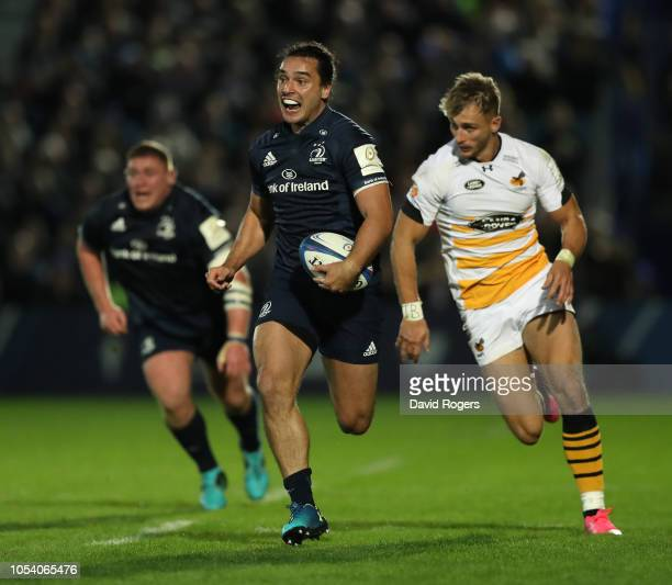James Lowe of Leinster Rugby breaks with the ball during the Champions Cup match between Leinster Rugby and Wasps at RDS Arena on October 12, 2018 in...
