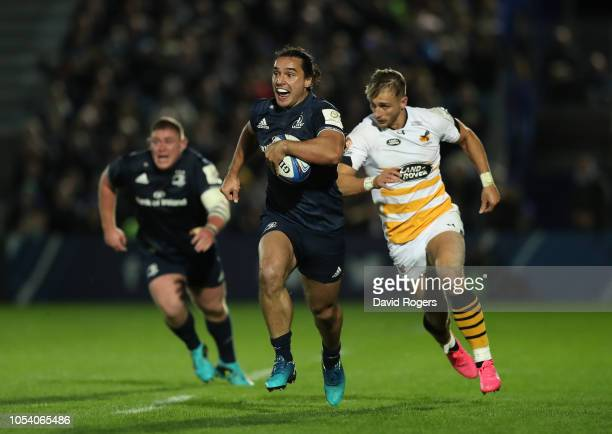 James Lowe of Leinster Rugby breaks with the ball during the Champions Cup match between Leinster Rugby and Wasps at RDS Arena on October 12 2018 in...