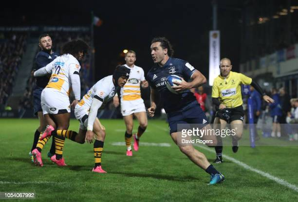 James Lowe of Leinster Rugby scores a try during the Champions Cup match between Leinster Rugby and Wasps at RDS Arena on October 12 2018 in Dublin...