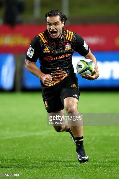 James Lowe of the Chiefs in action during the round 10 Super Rugby match between the Chiefs and the Sunwolves at FMG Stadium on April 29 2017 in...