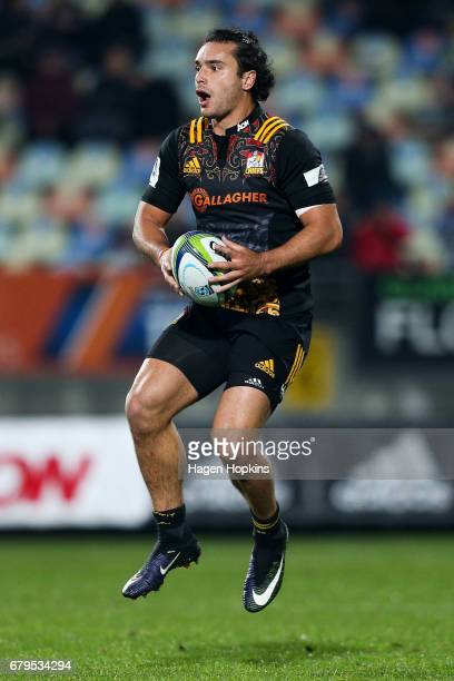 James Lowe of the Chiefs in action during the round 11 Super Rugby match between the Chiefs and the Reds at Yarrow Stadium on May 6 2017 in New...