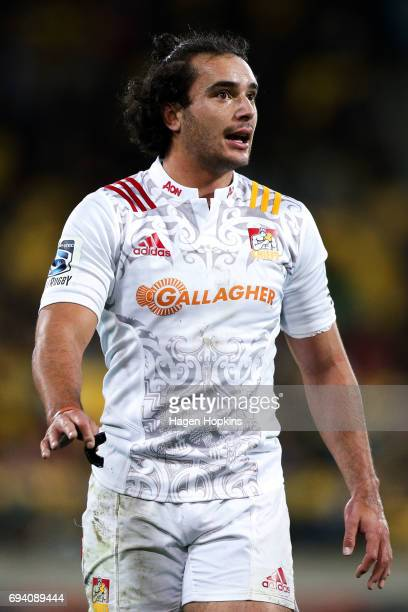 James Lowe of the Chiefs looks on during the round 16 Super Rugby match between the Hurricanes and the Chiefs at Westpac Stadium on June 9 2017 in...