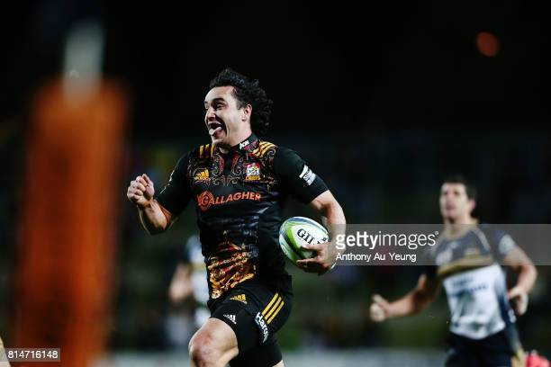 James Lowe of the Chiefs makes a break during the round 17 Super Rugby match between the Chiefs and the Brumbies at Waikato Stadium on July 15 2017...