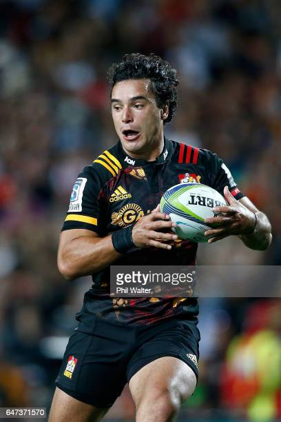 James Lowe of the Chiefs runs in for a try during the round two Super Rugby match between the Chiefs and the Blues at Rugby Park on March 3 2017 in...