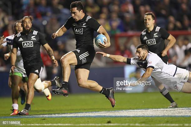 James Lowe of the Maori All Blacks runs in for a try during the Intenational Rugby Match between the USA Eagles and the New Zealand Maori All Blacks...