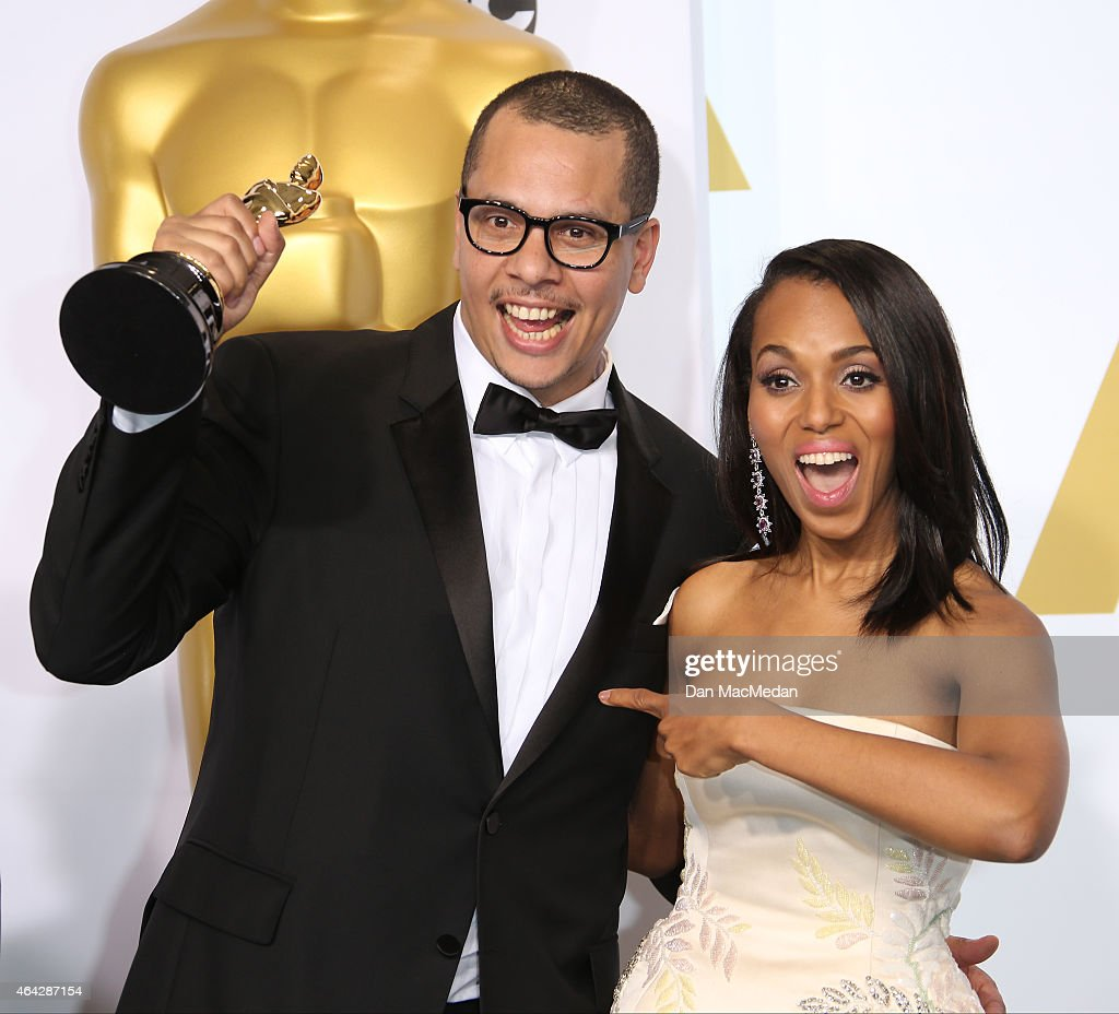 James Lucas and Kerry Washington pose in the press room with the award for Best Live Action Short Film at the 87th Annual Academy Awards at Hollywood & Highland Center on February 22, 2015 in Los Angeles, California.