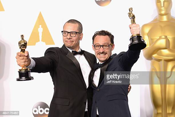 "James Lucas and Mat Kirby, with the award for best live action short film for ""The Phone Call"", pose in the press room during the 87th Annual Academy..."