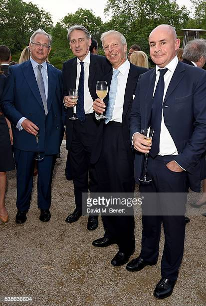 James Lupton Phillip Hammond MP Lord Leigh and Johan Eliasch attend The Bell Pottinger Summer Party at Lancaster House on June 7 2016 in London...