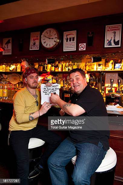 James Lynch and Ken Casey of American celtic punk band Dropkick Murphys photographed during a portrait shoot for Total Guitar Magazine November 26...