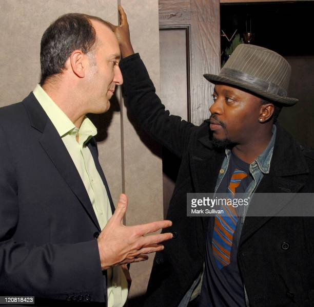 James M Horowitz copresident production executive vp Universal Pictures and singer Anthony Hamilton attend the Kathy Nelson/American Gangster CD...