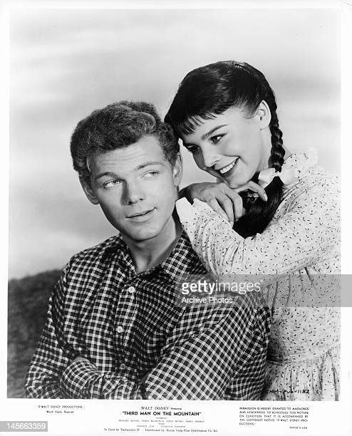 James MacArthur enjoys the affection of Janet Munro in publicity portrait for the film 'Third Man On The Mountain' 1959