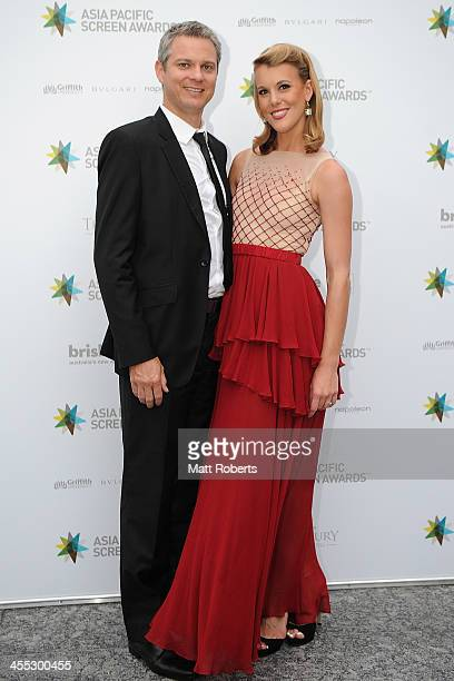 James Mackay and Katherine Feeney arrive at the Asia Pacific Screen Awards at Brisbane City Hall on December 12 2013 in Brisbane Australia