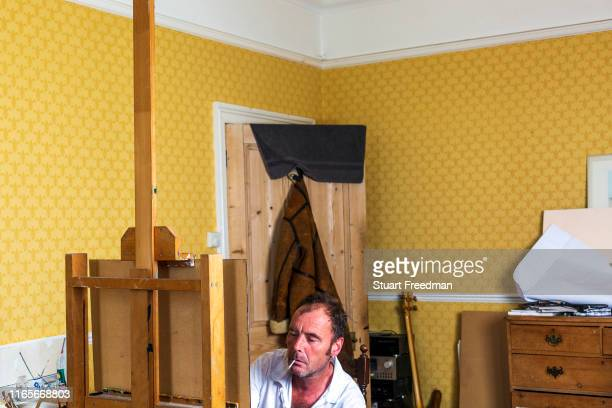 James Mackinnon a contemporary British artist in his studio in Hastings United Kingdom Grandson of the highly regarded painter and teacher Hugh...