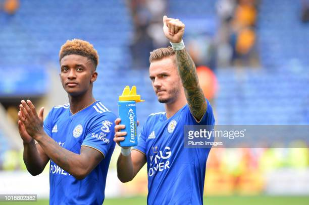 James Maddison and Demarai Gray of Leicester City greet the fans after the Premier League match between Leicester City and Wolverhampton Wanderers at...