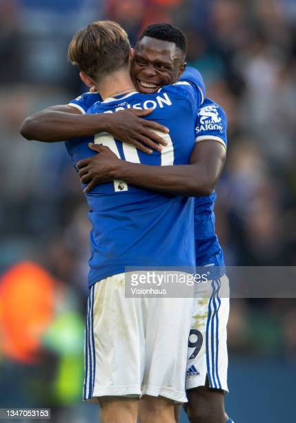 James Maddison and Patson Daka of Leicester City celebrate after the Premier League match between Leicester City and Manchester United at The King...