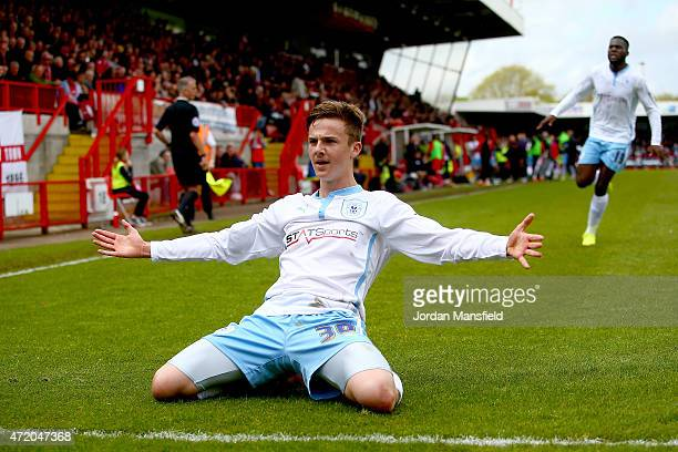 James Maddison of Coventry celebrates after scoring to make it 2-1 during the Sky Bet League One match between Crawley Town and Coventry City at The...