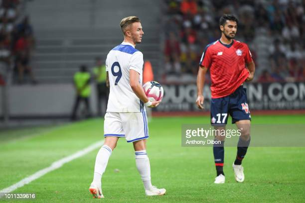 James Maddison of Leicester and Zeki Celik of Lille during the friendly match between Lille and Leicester at Stade Pierre Mauroy on August 4 2018 in...