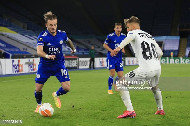 James Maddison of Leicester battles with Vladlen Yurchenko of Luhansk during the UEFA Europa League Group G match between Leicester City and Zorya...