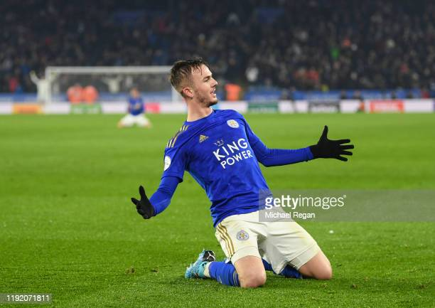 James Maddison of Leicester celebrates his goal to make it 20 during the Premier League match between Leicester City and Watford FC at The King Power...