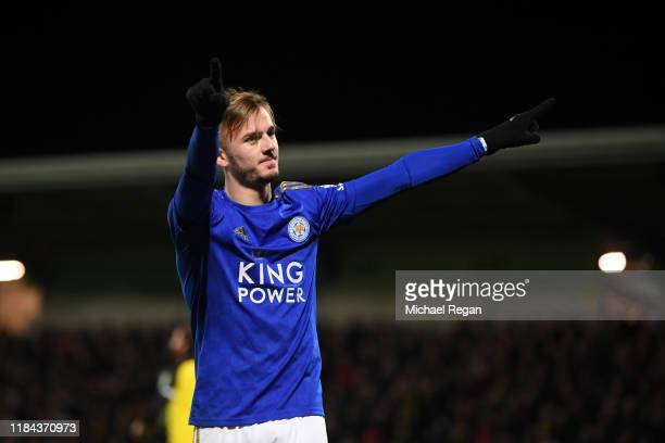 James Maddison of Leicester celebrates his goal to make it 31 after the Carabao Cup Round of 16 match between Burton Albion and Leicester City at...